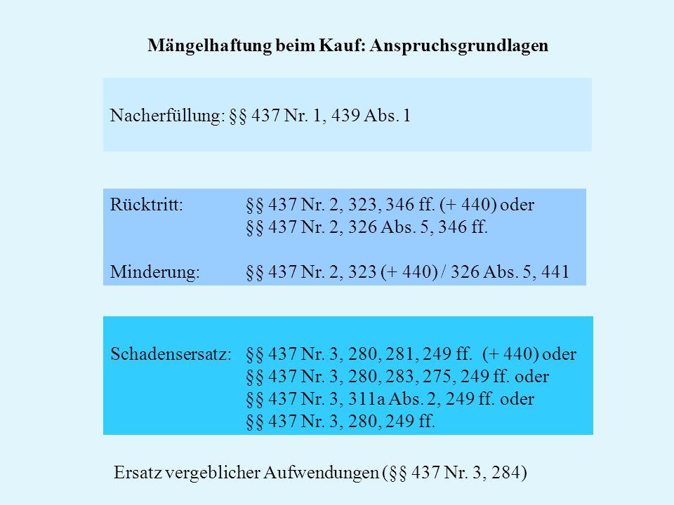 Nacherfüllung: §§ 437 Nr. 1, 439 Abs. 1 Schadensersatz: §§ 437 Nr. 3, 280, 281, 249 ff. (+ 440) oder §§ 437 Nr. 3, 280, 283, 275, 249 ff. oder §§ 437