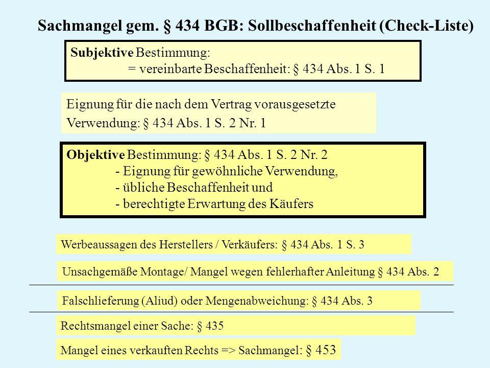 Sachmangel gem. § 434 BGB: Sollbeschaffenheit (Check-Liste) Objektive Bestimmung: § 434 Abs. 1 S. 2 Nr. 2 - Eignung für gewöhnliche Verwendung, - übli