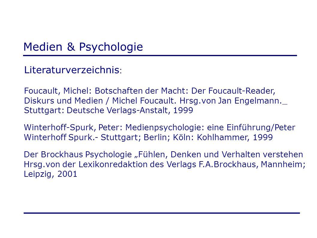 Medien & Psychologie Literaturverzeichnis : Foucault, Michel: Botschaften der Macht: Der Foucault-Reader, Diskurs und Medien / Michel Foucault. Hrsg.v