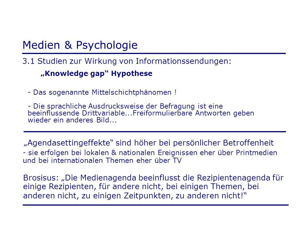 """Medien & Psychologie 3.1 Studien zur Wirkung von Informationssendungen: """"Knowledge gap"""" Hypothese - Das sogenannte Mittelschichtphänomen ! - Die sprac"""
