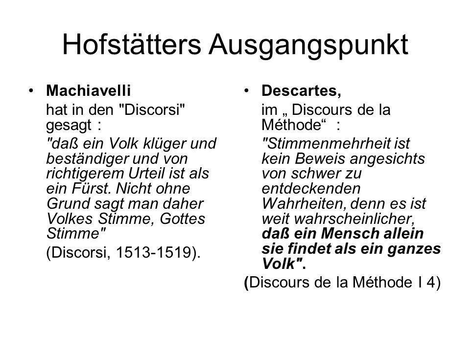 Hofstätters Ausgangspunkt Machiavelli hat in den