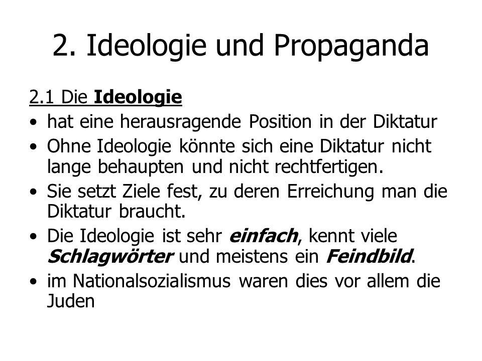 2.1 Die Ideologie hat eine herausragende Position in der Diktatur Ohne Ideologie könnte sich eine Diktatur nicht lange behaupten und nicht rechtfertig