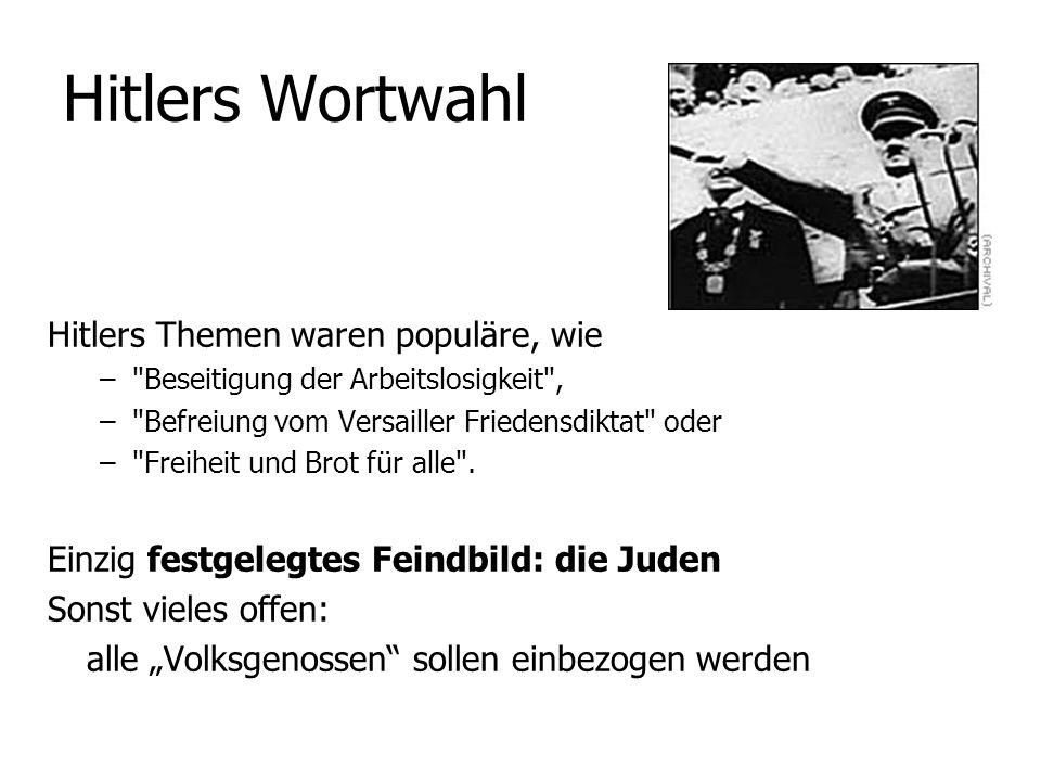 Hitlers Wortwahl Hitlers Themen waren populäre, wie –