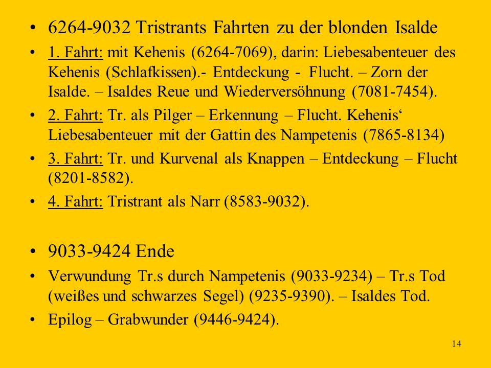 14 6264-9032 Tristrants Fahrten zu der blonden Isalde 1. Fahrt: mit Kehenis (6264-7069), darin: Liebesabenteuer des Kehenis (Schlafkissen).- Entdeckun