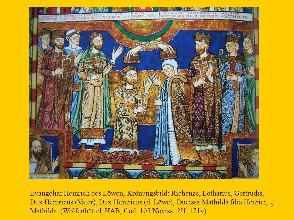21 Evangeliar Heinrich des Löwen, Krönungsbild: Richenze, Lotharius, Gertrudis, Dux Heinricus (Vater), Dux Heinricus (d. Löwe), Ducissa Mathilda filia