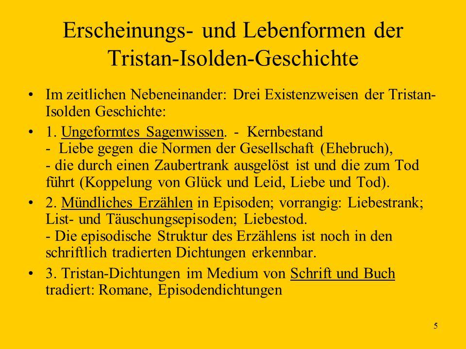 5 Erscheinungs- und Lebenformen der Tristan-Isolden-Geschichte Im zeitlichen Nebeneinander: Drei Existenzweisen der Tristan- Isolden Geschichte: 1. Un
