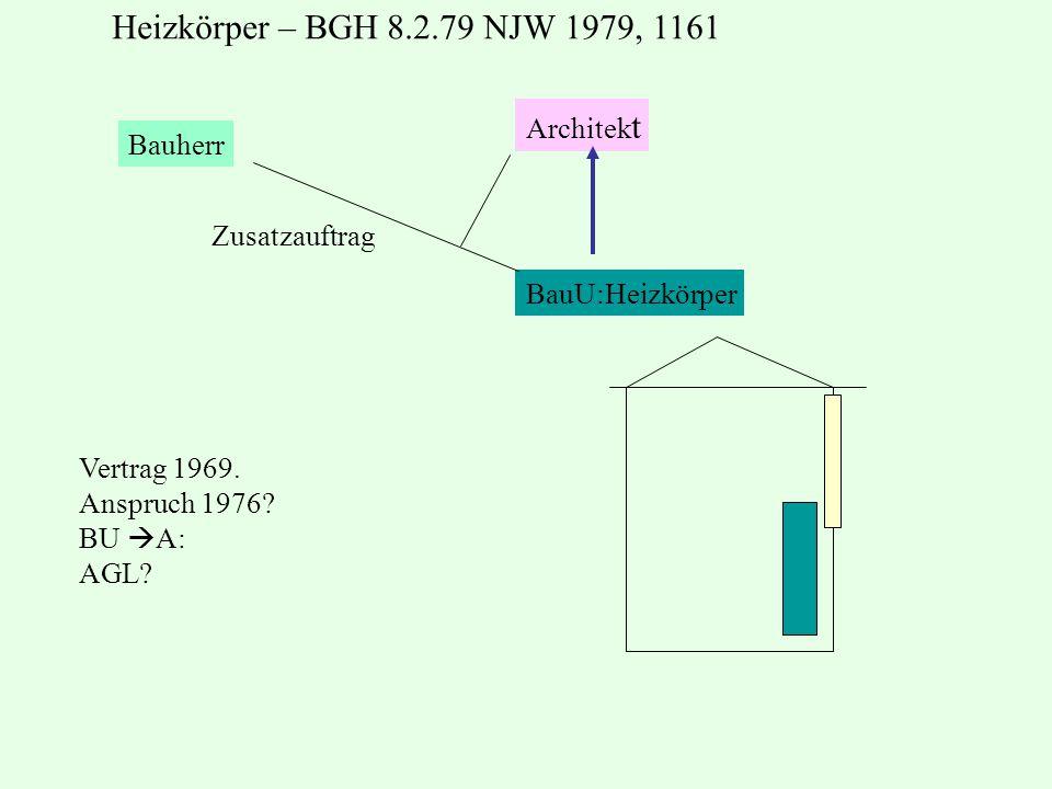 Bauherr Architek t BauU:Heizkörper Zusatzauftrag Vertrag 1969. Anspruch 1976? BU  A: AGL? Heizkörper – BGH 8.2.79 NJW 1979, 1161