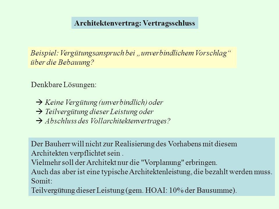 Architektenvertrag: Vertragsschluss  Keine Vergütung (unverbindlich) oder  Teilvergütung dieser Leistung oder  Abschluss des Vollarchitektenvertrag