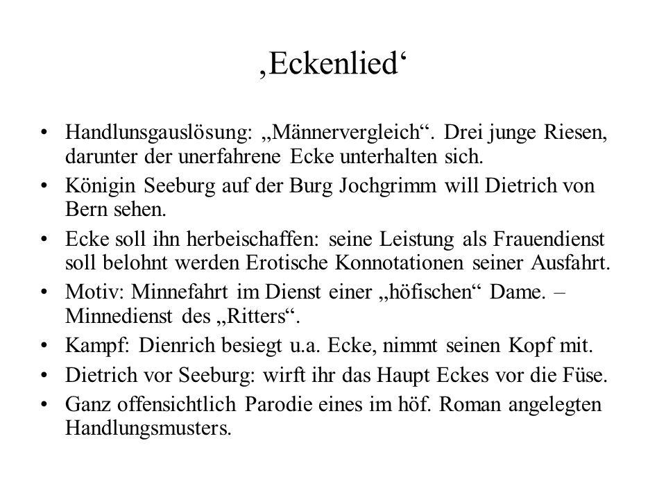 """'Eckenlied' Handlunsgauslösung: """"Männervergleich"""". Drei junge Riesen, darunter der unerfahrene Ecke unterhalten sich. Königin Seeburg auf der Burg Joc"""