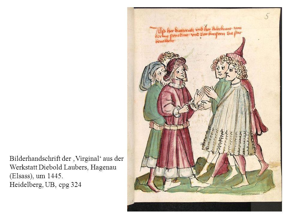 Bilderhandschrift der 'Virginal' aus der Werkstatt Diebold Laubers, Hagenau (Elsass), um 1445. Heidelberg, UB, cpg 324