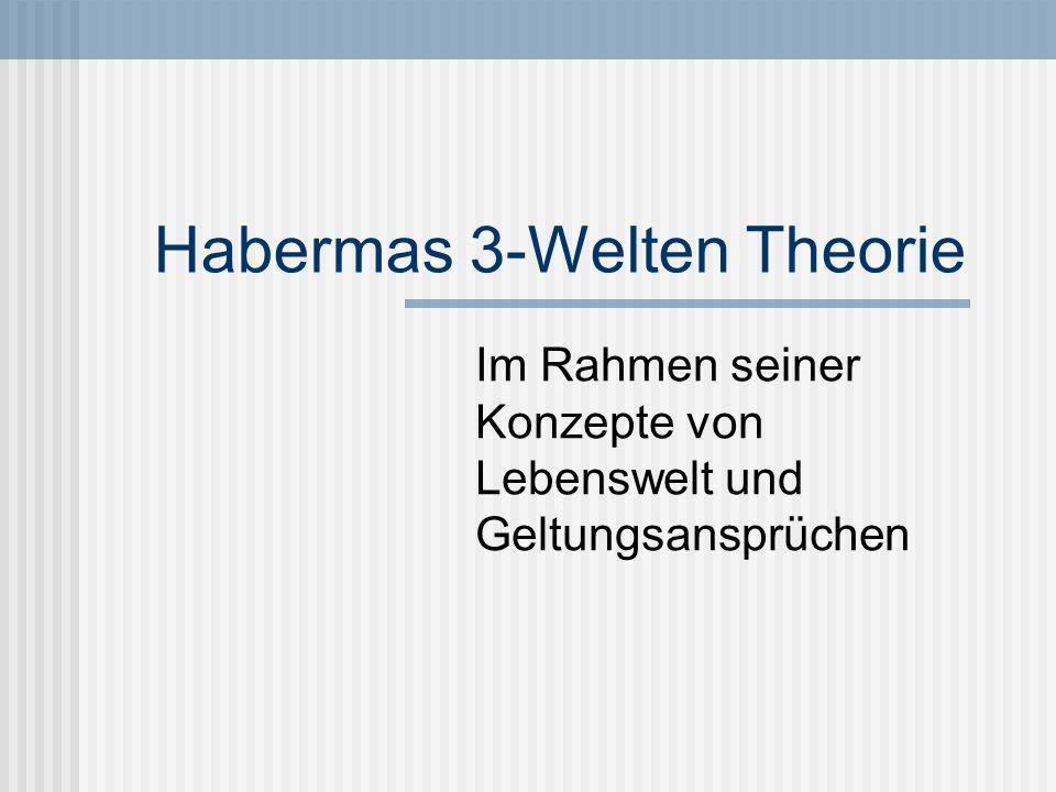 Der Begriff der Lebenswelt Habermas nimmt in einer handlungstheoretischen Revision der Popperschen 3-Weltentheorie zunächst eine Unterscheidung zwischen Welt und Lebenswelt vor.Die Lebenswelt ist für Habermas ein unausgesprochener Orientierungsrahmen, der als ein kulturell überlieferter und sprachlich organisierter Vorrat von vorinterpretierten Deutungsmustern zu verstehen ist.