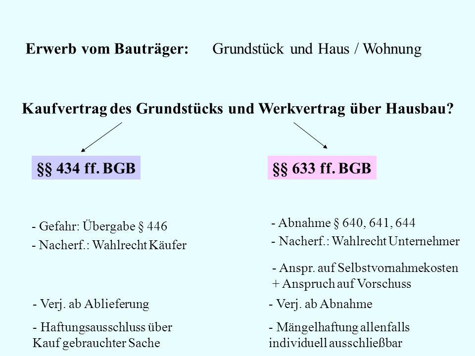 Erwerb vom Bauträger:Grundstück und Haus / Wohnung Kaufvertrag des Grundstücks und Werkvertrag über Hausbau? §§ 434 ff. BGB§§ 633 ff. BGB - Gefahr: Üb