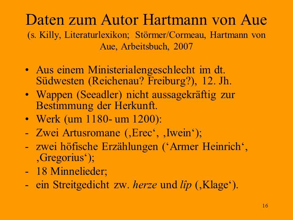 16 Daten zum Autor Hartmann von Aue (s.