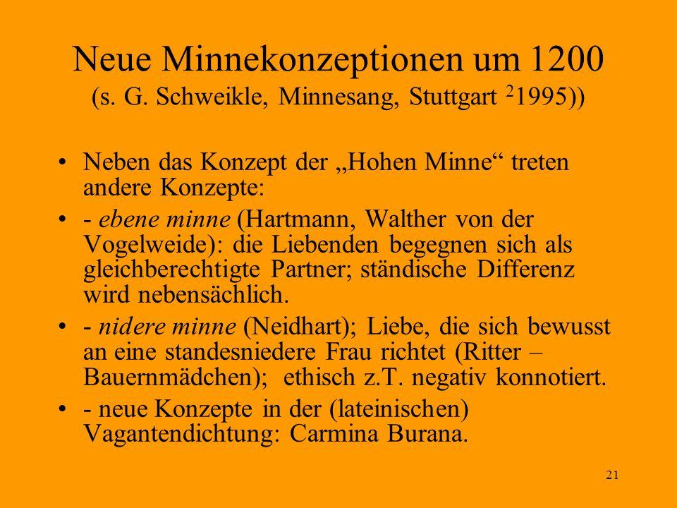 21 Neue Minnekonzeptionen um 1200 (s.G.