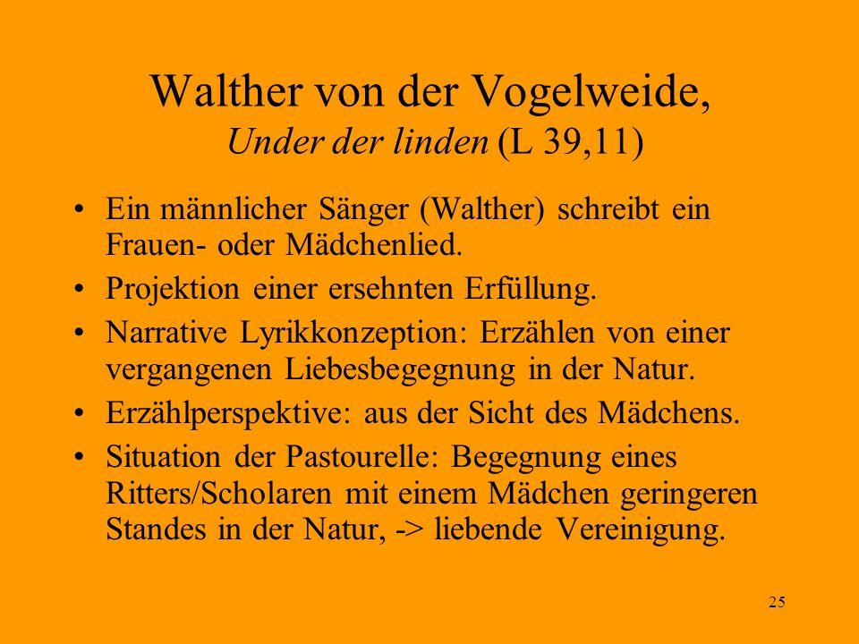25 Walther von der Vogelweide, Under der linden (L 39,11) Ein männlicher Sänger (Walther) schreibt ein Frauen- oder Mädchenlied.