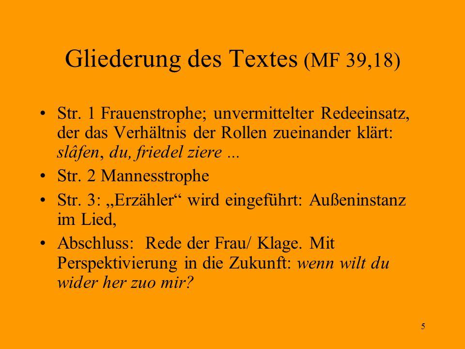 6 Gattungstradition des Tagelieds Textsammlung: Tagelieder des deutschen Mittelalters.