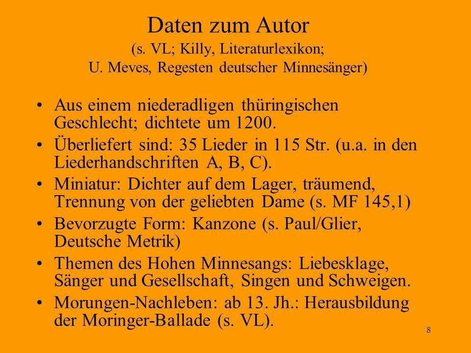 29 Eigenheiten von Neidharts Lyrik Zwei Liedtypen, unterschieden nach dem jeweiligen Natureingang: Sommerlieder – Winterlieder.