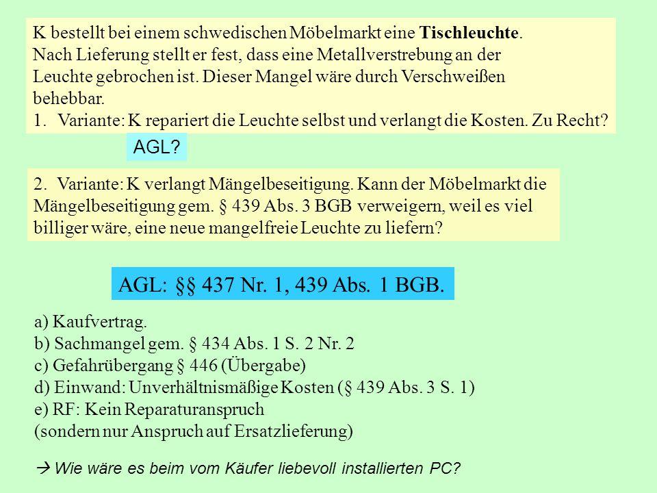 Probleme des Nacherfüllungsanspruchs: § 439 Abs.3.