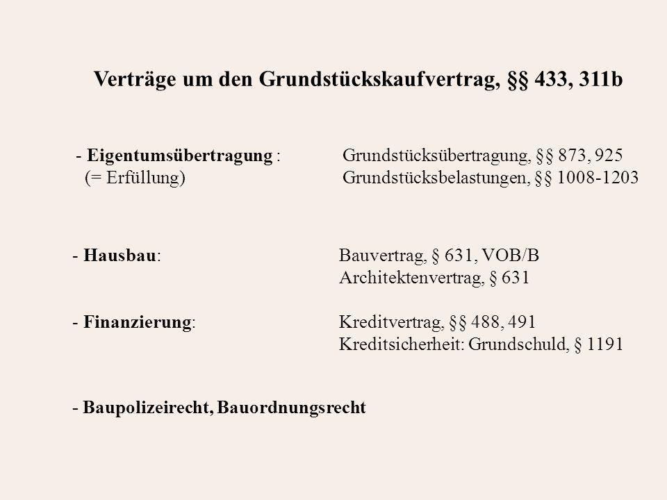 - Hausbau: Bauvertrag, § 631, VOB/B Architektenvertrag, § 631 - Finanzierung: Kreditvertrag, §§ 488, 491 Kreditsicherheit: Grundschuld, § 1191 Verträge um den Grundstückskaufvertrag, §§ 433, 311b - Eigentumsübertragung : Grundstücksübertragung, §§ 873, 925 (= Erfüllung)Grundstücksbelastungen, §§ 1008-1203 - Baupolizeirecht, Bauordnungsrecht