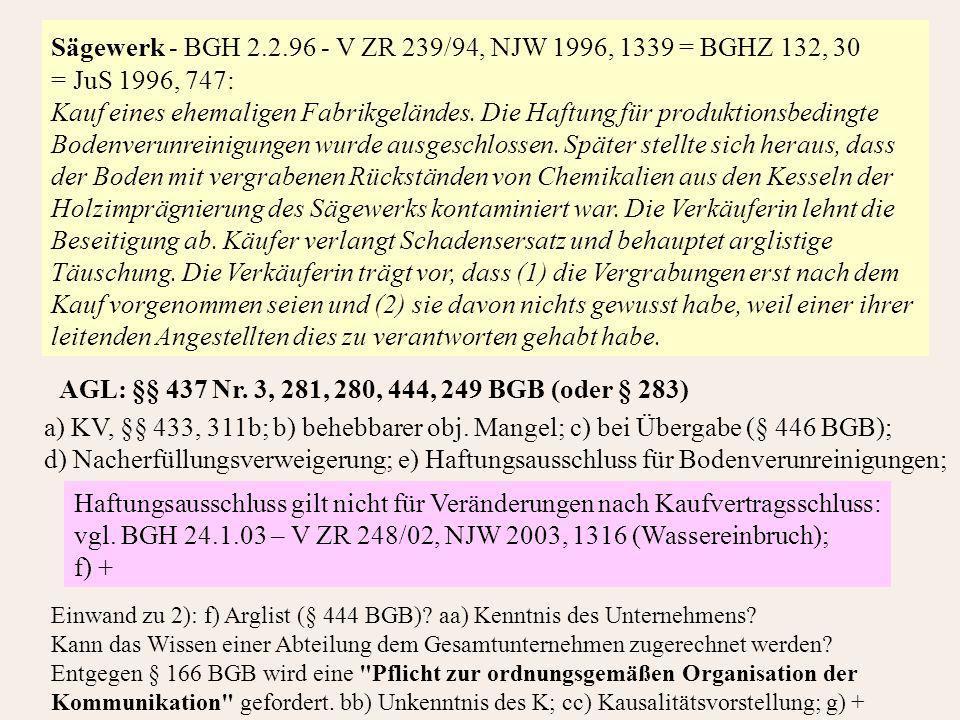 Sägewerk - BGH 2.2.96 - V ZR 239/94, NJW 1996, 1339 = BGHZ 132, 30 = JuS 1996, 747: Kauf eines ehemaligen Fabrikgeländes.