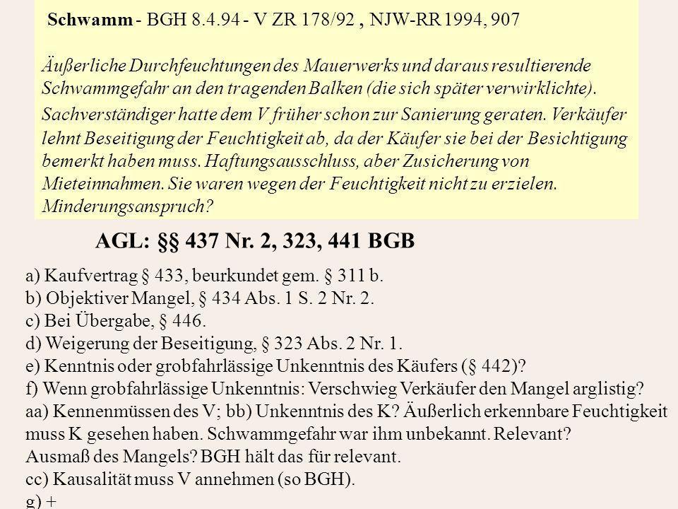 Schwamm - BGH 8.4.94 - V ZR 178/92, NJW-RR 1994, 907 Äußerliche Durchfeuchtungen des Mauerwerks und daraus resultierende Schwammgefahr an den tragenden Balken (die sich später verwirklichte).