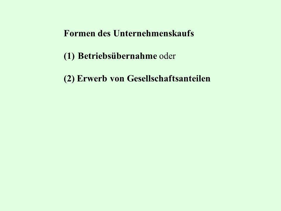 Formen des Unternehmenskaufs (1)Betriebsübernahme oder (2) Erwerb von Gesellschaftsanteilen