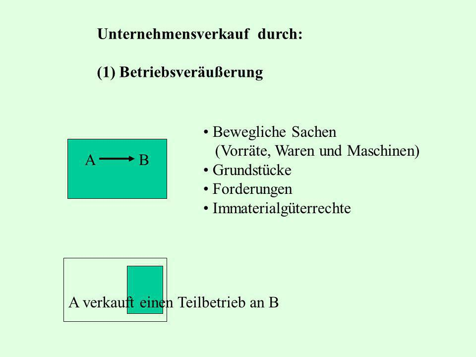 Unternehmensverkauf durch: (1) Betriebsveräußerung A B A verkauft einen Teilbetrieb an B Bewegliche Sachen (Vorräte, Waren und Maschinen) Grundstücke