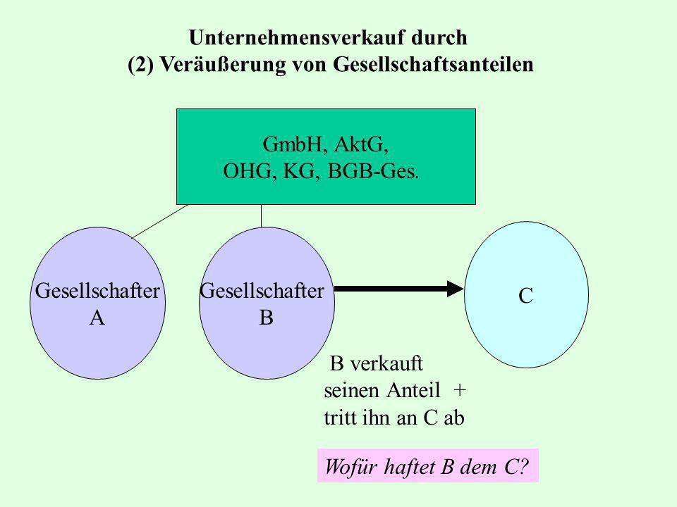 GmbH, AktG, OHG, KG, BGB-Ges. Gesellschafter B C B verkauft seinen Anteil + tritt ihn an C ab Wofür haftet B dem C? Gesellschafter A Unternehmensverka