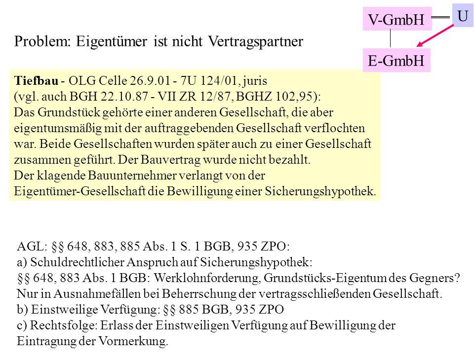 Problem: Eigentümer ist nicht Vertragspartner Tiefbau - OLG Celle 26.9.01 - 7U 124/01, juris (vgl. auch BGH 22.10.87 - VII ZR 12/87, BGHZ 102,95): Das