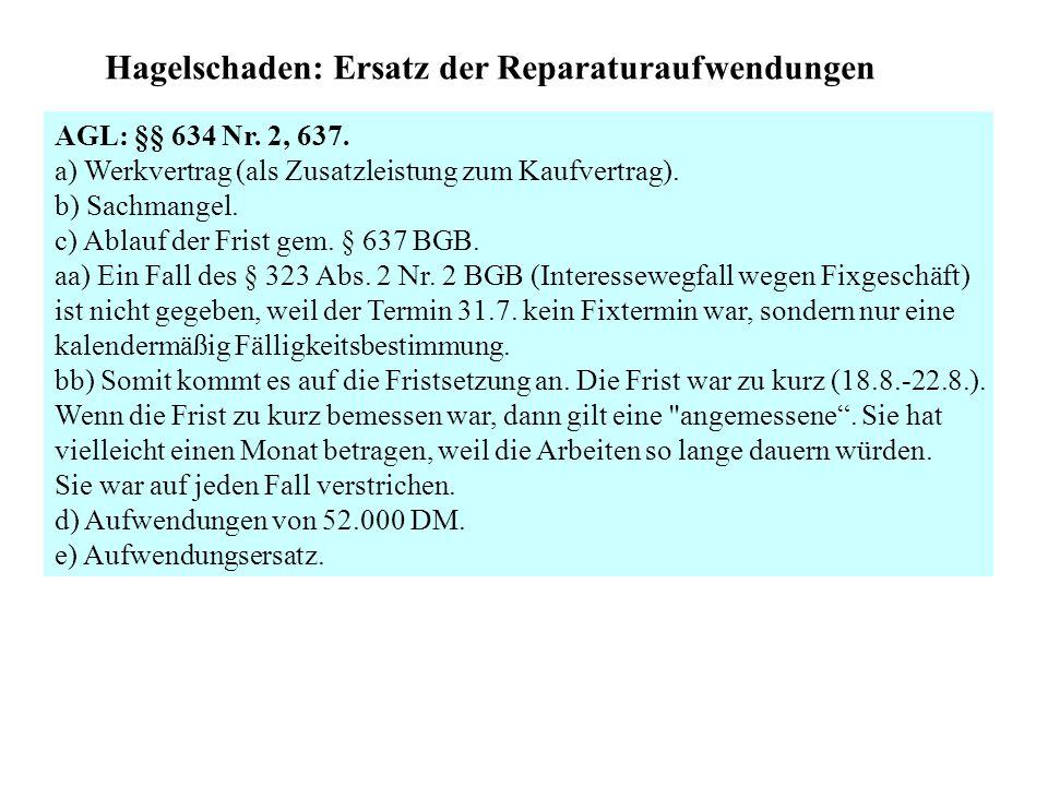 Balkon: Ersatz des Feuchtigkeitsschadens AGL: § 634 Nr.