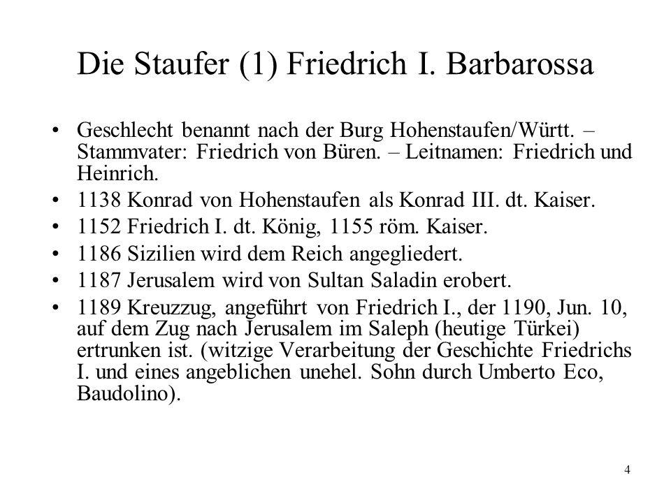 4 Die Staufer (1) Friedrich I.Barbarossa Geschlecht benannt nach der Burg Hohenstaufen/Württ.