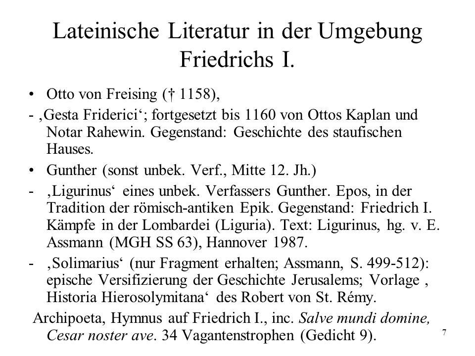 7 Lateinische Literatur in der Umgebung Friedrichs I.