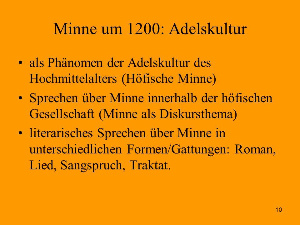10 Minne um 1200: Adelskultur als Phänomen der Adelskultur des Hochmittelalters (Höfische Minne) Sprechen über Minne innerhalb der höfischen Gesellsch