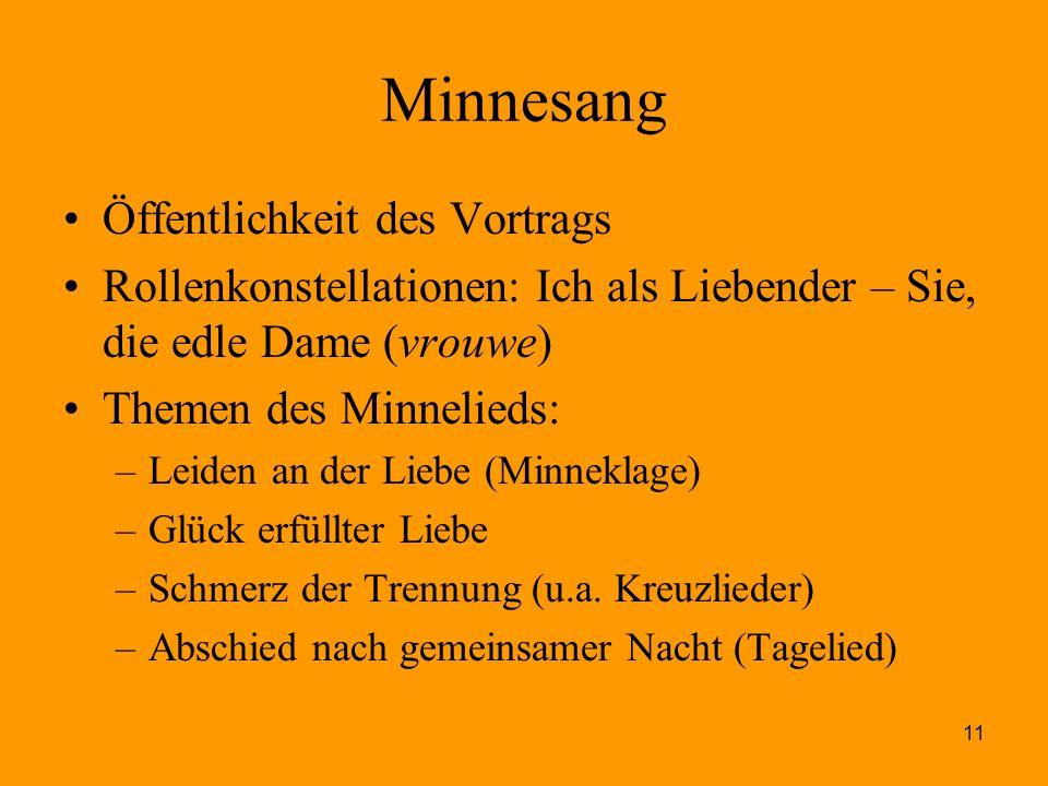 11 Minnesang Öffentlichkeit des Vortrags Rollenkonstellationen: Ich als Liebender – Sie, die edle Dame (vrouwe) Themen des Minnelieds: –Leiden an der