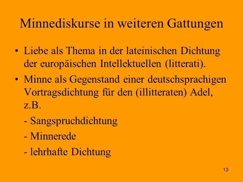 13 Minnediskurse in weiteren Gattungen Liebe als Thema in der lateinischen Dichtung der europäischen Intellektuellen (litterati). Minne als Gegenstand