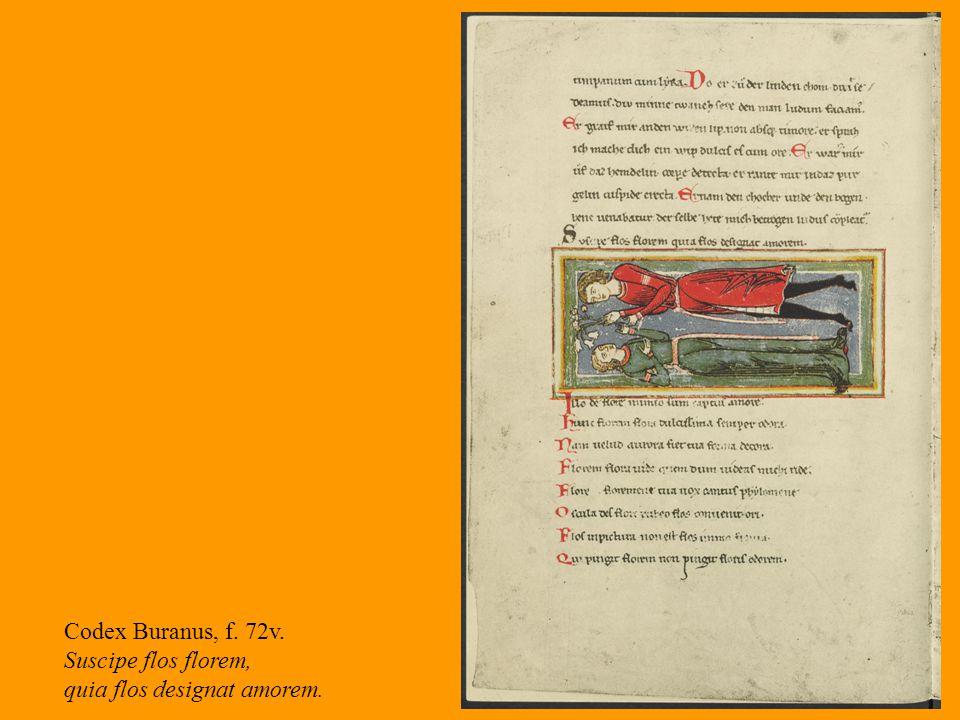 16 Codex Buranus, f. 72v. Suscipe flos florem, quia flos designat amorem.