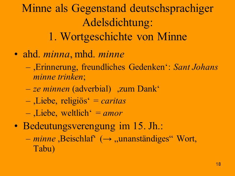 18 Minne als Gegenstand deutschsprachiger Adelsdichtung: 1. Wortgeschichte von Minne ahd. minna, mhd. minne –,Erinnerung, freundliches Gedenken': Sant