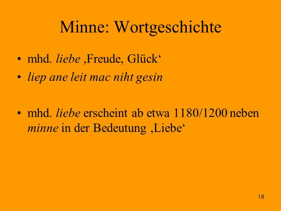19 Minne: Wortgeschichte mhd. liebe,Freude, Glück' liep ane leit mac niht gesin mhd. liebe erscheint ab etwa 1180/1200 neben minne in der Bedeutung,Li