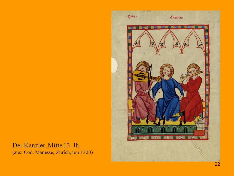 22 Der Kanzler, Mitte 13. Jh. (aus: Cod. Manesse, Zürich, um 1320)