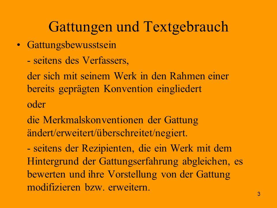 3 Gattungen und Textgebrauch Gattungsbewusstsein - seitens des Verfassers, der sich mit seinem Werk in den Rahmen einer bereits geprägten Konvention e