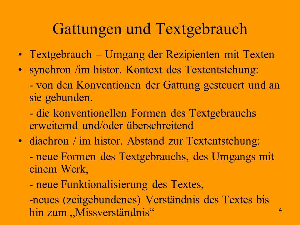 4 Gattungen und Textgebrauch Textgebrauch – Umgang der Rezipienten mit Texten synchron /im histor. Kontext des Textentstehung: - von den Konventionen