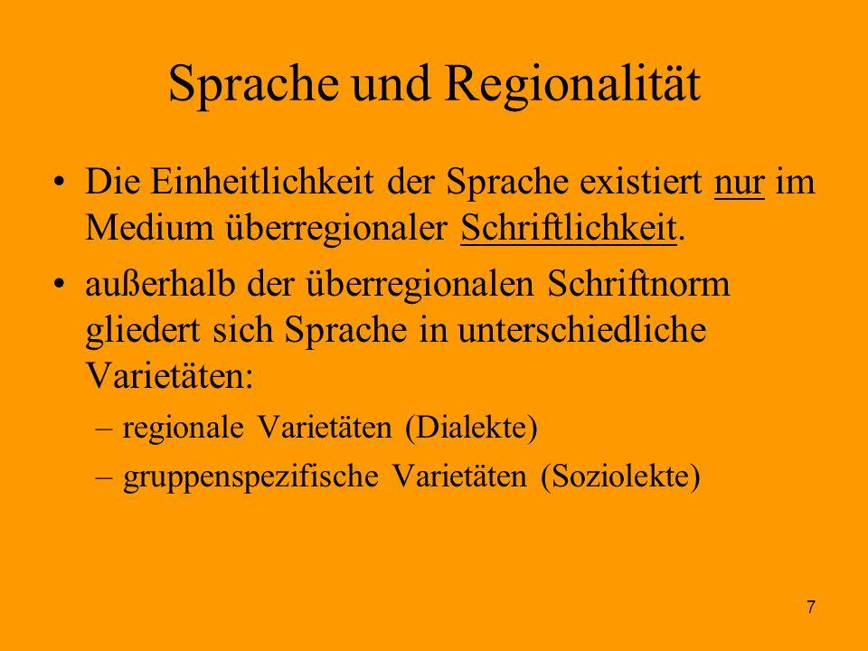 7 Sprache und Regionalität Die Einheitlichkeit der Sprache existiert nur im Medium überregionaler Schriftlichkeit. außerhalb der überregionalen Schrif