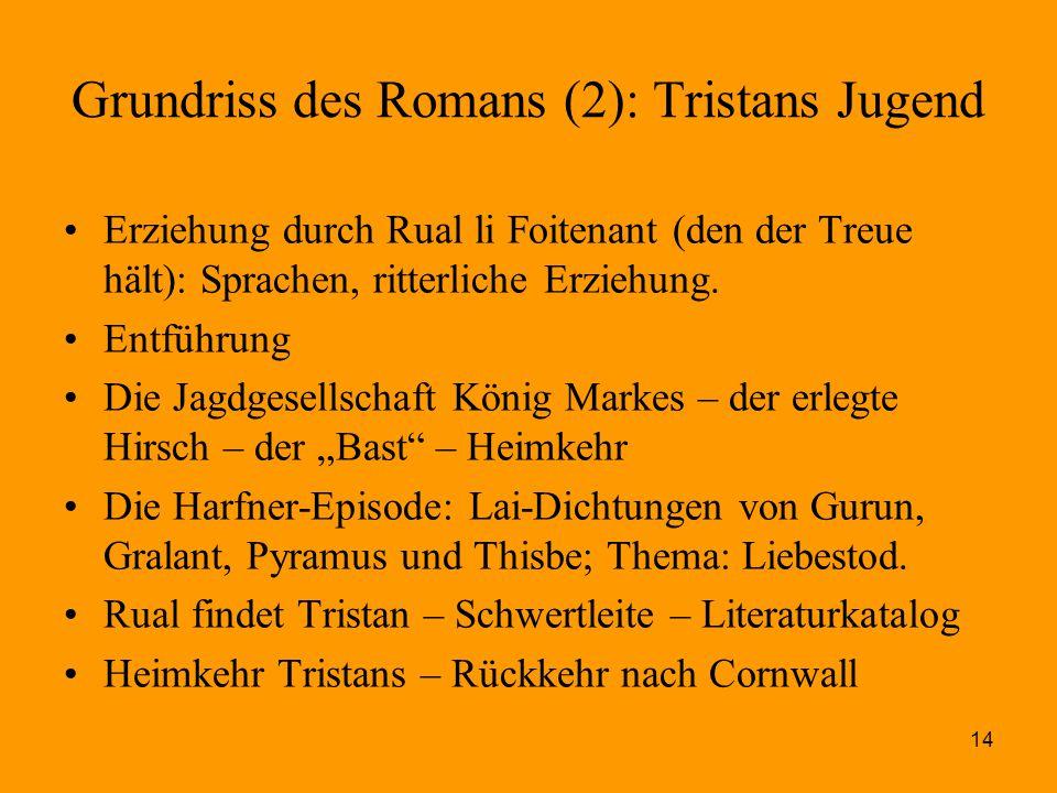 14 Grundriss des Romans (2): Tristans Jugend Erziehung durch Rual li Foitenant (den der Treue hält): Sprachen, ritterliche Erziehung. Entführung Die J