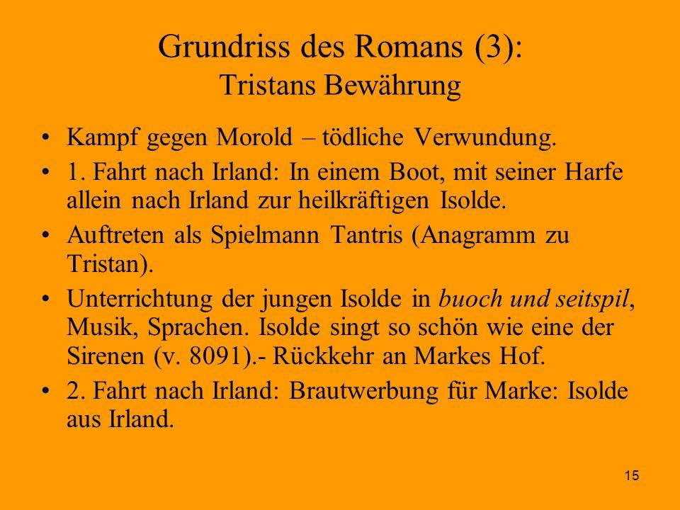 15 Grundriss des Romans (3): Tristans Bewährung Kampf gegen Morold – tödliche Verwundung. 1. Fahrt nach Irland: In einem Boot, mit seiner Harfe allein