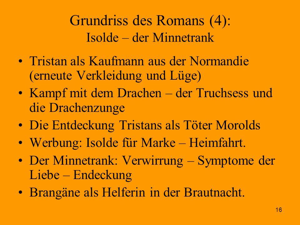 16 Grundriss des Romans (4): Isolde – der Minnetrank Tristan als Kaufmann aus der Normandie (erneute Verkleidung und Lüge) Kampf mit dem Drachen – der