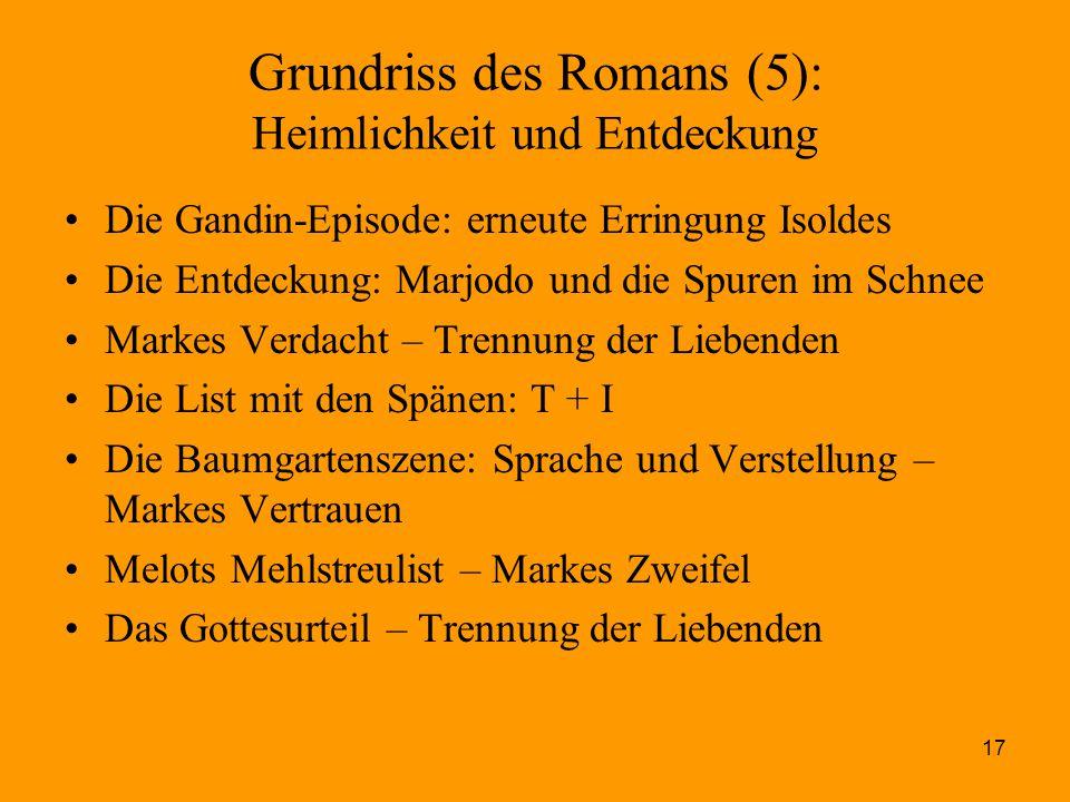 17 Grundriss des Romans (5): Heimlichkeit und Entdeckung Die Gandin-Episode: erneute Erringung Isoldes Die Entdeckung: Marjodo und die Spuren im Schne
