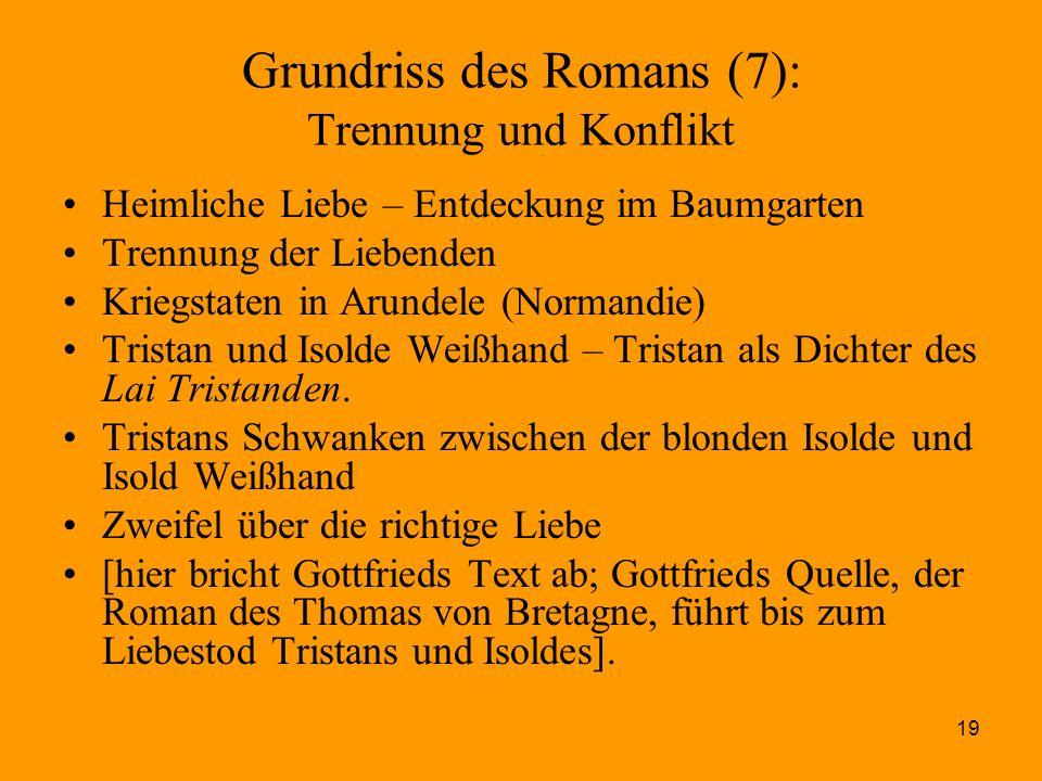 19 Grundriss des Romans (7): Trennung und Konflikt Heimliche Liebe – Entdeckung im Baumgarten Trennung der Liebenden Kriegstaten in Arundele (Normandi