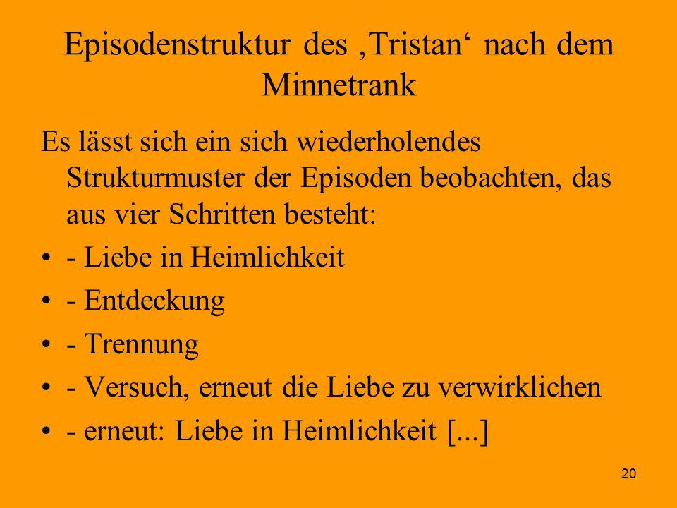 20 Episodenstruktur des 'Tristan' nach dem Minnetrank Es lässt sich ein sich wiederholendes Strukturmuster der Episoden beobachten, das aus vier Schri
