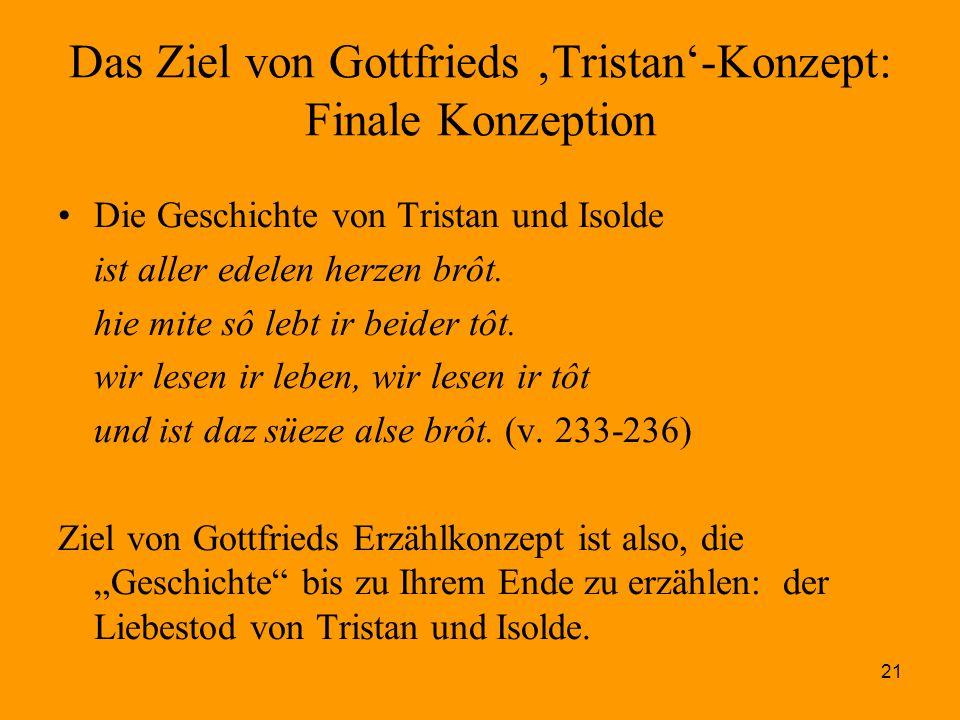 21 Das Ziel von Gottfrieds 'Tristan'-Konzept: Finale Konzeption Die Geschichte von Tristan und Isolde ist aller edelen herzen brôt. hie mite sô lebt i