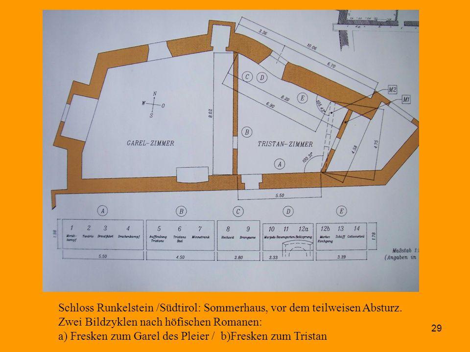 29 Schloss Runkelstein /Südtirol: Sommerhaus, vor dem teilweisen Absturz. Zwei Bildzyklen nach höfischen Romanen: a) Fresken zum Garel des Pleier / b)
